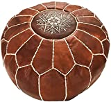 Marrakesh Gallery Moroccan Pouf Cover, Genuine Goatskin Leather - Bohemian Living Room Decor - Cover ONLY - Stuffing is NOT Included
