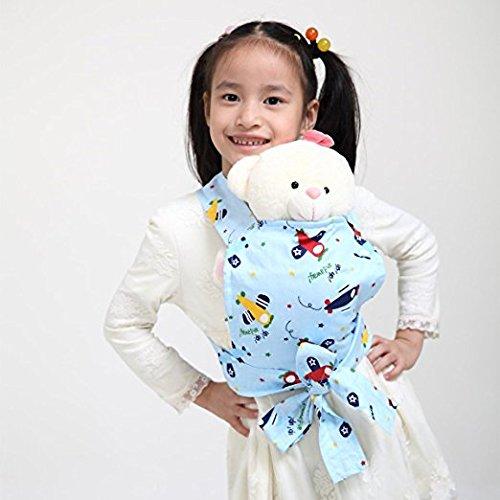 Baby Doll Carrier Mei Tai Sling Toy pour enfants Enfant enfant en bas d'enfant Dos, Mini-porteuse, Hibou, Dot, Fleur, Kaléidoscope (Plane)