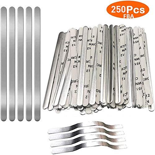 250 piezas de tiras de alambre de nariz de aluminio de 5 mm Ajustador de nariz Pinzas de puente Soporte para cubierta facial Costura Earloop Crafts Making