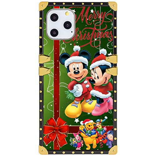 DISNEY COLLECTION Square Phone Case Fit iPhone 11 Pro Max 6.5 Version Bow Christmas Green Mickey Minnie Red Winnie The Pooh
