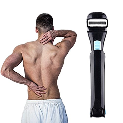 Rasoio elettrico posteriore per uomo per la schiena dei capelli del corpo toelettatore Trimmer con manico lungo pieghevole con spazzola di pulizia della lama (non incluse batterie)