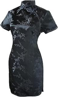 Women's Sexy Black Floral Mini Chinese Evening Dress Cheongsam