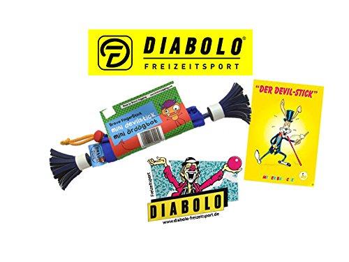 Diabolo Freizeitsport Bravo Mini Fingerstick Set in Blau/Weiß inkl. Devilstick Jonglage Trickheft + Aufkleber l Anfänger Flowerstick für Fingertricks & Geschicklichkeit