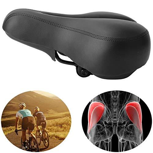 DAUERHAFT Asiento de Bicicleta ergonómico aerodinámico Transpirable Comodidad Reduce el Impacto El Resorte es más Grueso, para Bicicleta de Carretera(All Black)