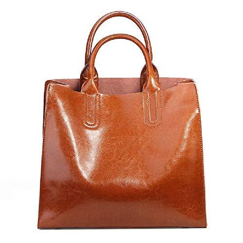 Borsa da donna in pelle europea di cera di olio borsa da donna singola spalla Messenger Bag, Marrone (Marrone) - 6978018730667