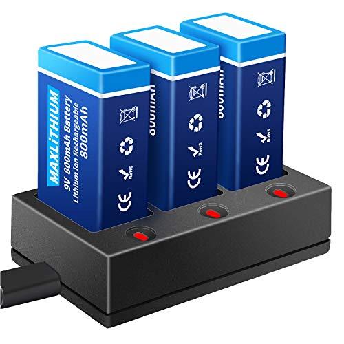 9V Block Batterien, Maxlithium 800mAh Li-ion Wiederaufladbare PP3 Akku mit Ladegerät, Ideal für Rauchmelder, Multimeter, Mikrofone etc. [3 Stück, USB-Ladekabel Enthalten]