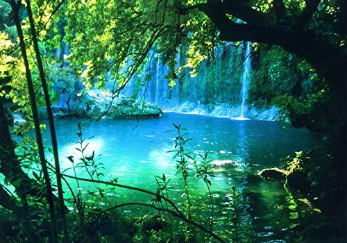 decomonkey Fototapete Wasserfall 350x256 cm XXL Design Tapete Fototapeten Vlies Tapeten Vliestapete Wandtapete moderne Wand Schlafzimmer Wohnzimmer Natur Wald