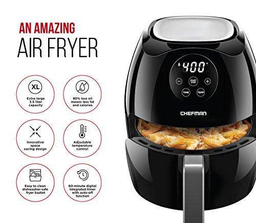 Chefman Digital 3.6 Quart Touch Screen Air Fryer Oven w/ Space Saving Flat Basket, Healthy Oil-Free Airfryer w/ 60 Minute Timer & Auto Shutoff, Dishwasher Safe Parts, BPA-Free, Black