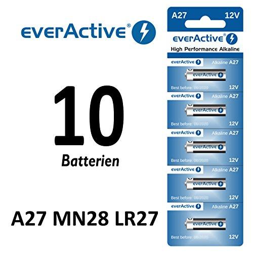 10 x A27 12V everActive Alkaline-Batterien A27 27A LR27A MN27 L828 Fernbedinung