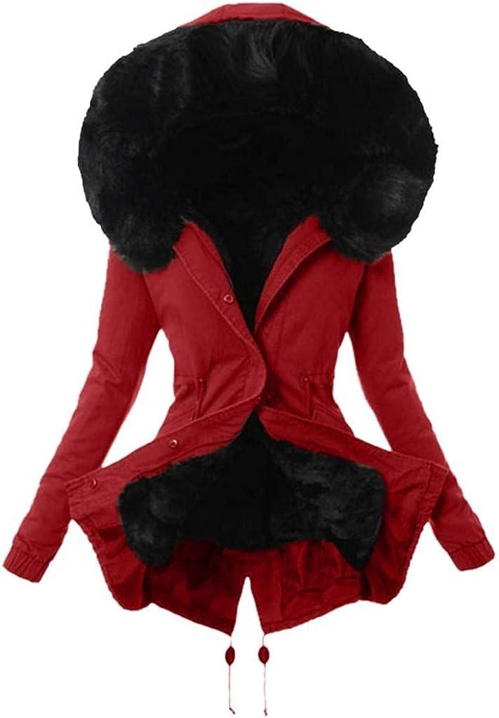 Women Clothes Winter Warm Long Coats Ladies Faux Fur Lined Parka Outwear Thick Long Jacket Hooded Overcoat Windbreaker