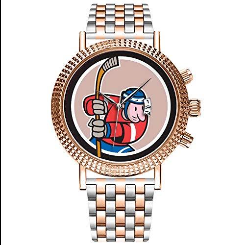 Mode wasserdichte Herren-Armbanduhr Analog Quarz Edelstahl Mit Gold 164.American Retro Ice Hockey Watch