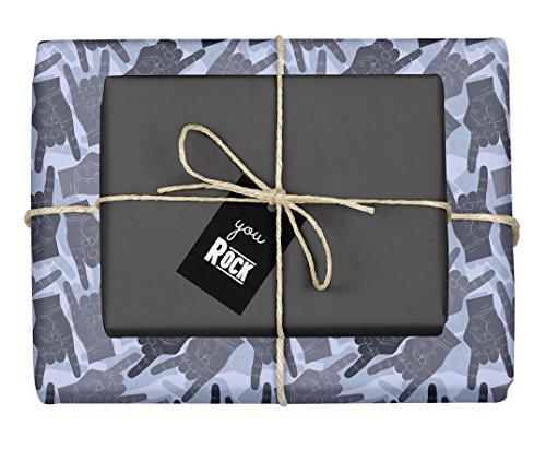 4X Geschenkpapier: Rock n Roll, Pommesgabel, Metal Hand (zweifarbig schwarz-grau-blau) mit Anhänger (für Rock Fans, Musiker, Männer, Frauen, Musiklehrer, Musikschüler, Humor, lustig)