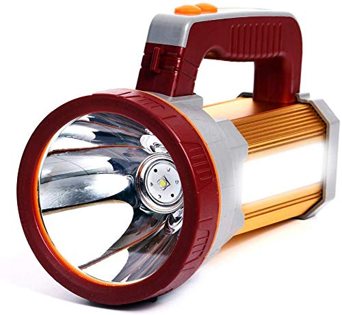 AF-WAN - Torcia a LED super luminosa, ricaricabile, portatile, portatile, con potente torcia da 9000 mAh, 7000 lumen, impermeabile e resistente, con uscita USB come power bank (oro)