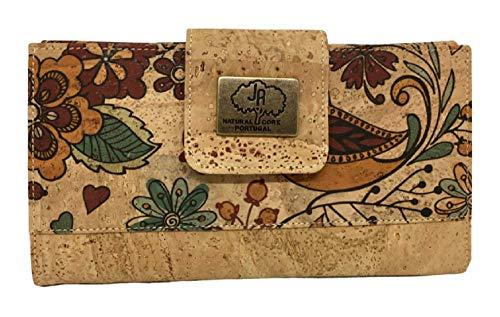 Kurk portemonnee voor dames Vegan Natural Cork Clutch Damesportemonnee Portemonnee met kaarthouder Eco-vriendelijke portemonnee met grote capaciteit, lange portemonnee