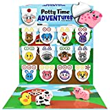 LIL ADVENTS Potty Time Adventures Potty Training Game - 14 Wood Block Toys, Chart, Activity Board, Stickers and Reward Badge for Toilet Training - Farm Animals