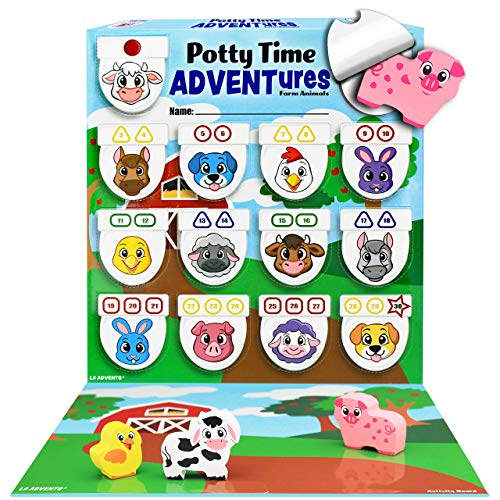 Product Image of the LIL ADVENTS Potty Time Adventures Potty Training Game - 14 Wood Block Toys,...