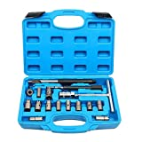 8MILELAKE 17PC Injector Seat Cutter Cleaner Diesel Tool Carbon Remover Injection Set