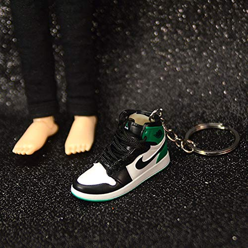 Jordan aj1 un par de Zapatos Desnudos Llavero de Baloncesto Zapatos de Baloncesto Tridimensional Bolsa de Molde Colgante Hecho a Mano Llavero 39