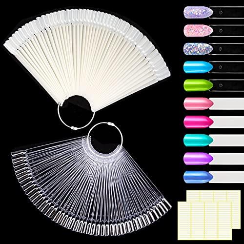 MELLIEX 100 Piezas Muestras Uñas Falsa, Mostrador Display Exhibidor de Uñas para Pintar Uñas Falsas Practicas Arte de Uñas Tips (Transparente + Naturales)
