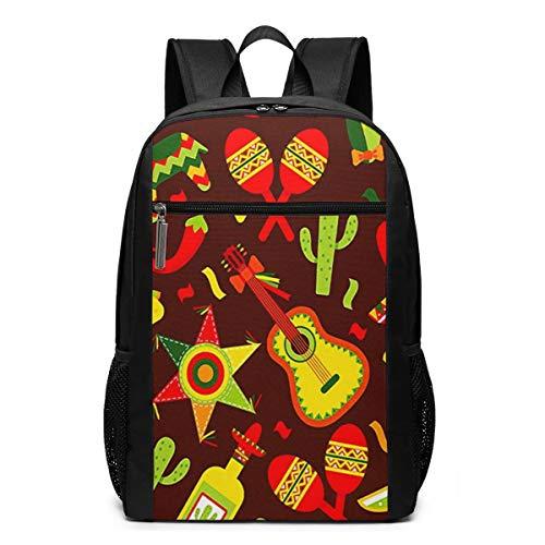 Schulrucksack Mexikanischer Tequila Kaktus, Schultaschen Teenager Rucksack Schultasche Schulrucksäcke Backpack für Damen Herren Junge Mädchen 15,6 Zoll Notebook