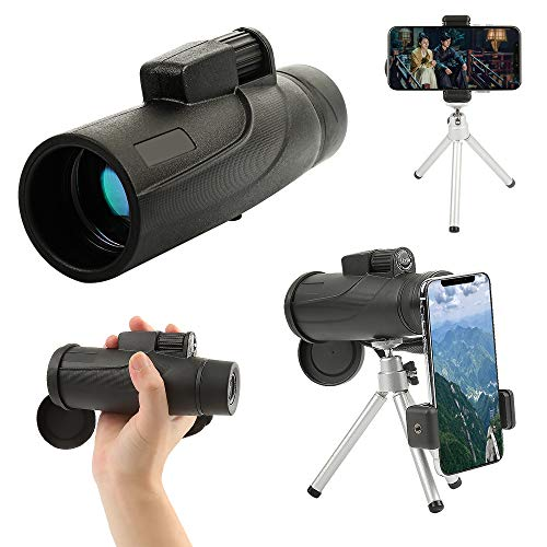 TIAS Telescopio monocular de 40 x 60 cm, monocular HD, resistente al agua, con clip para teléfono y trípode para observación de aves, caza, senderismo, pesca, deportes al aire libre y conciertos