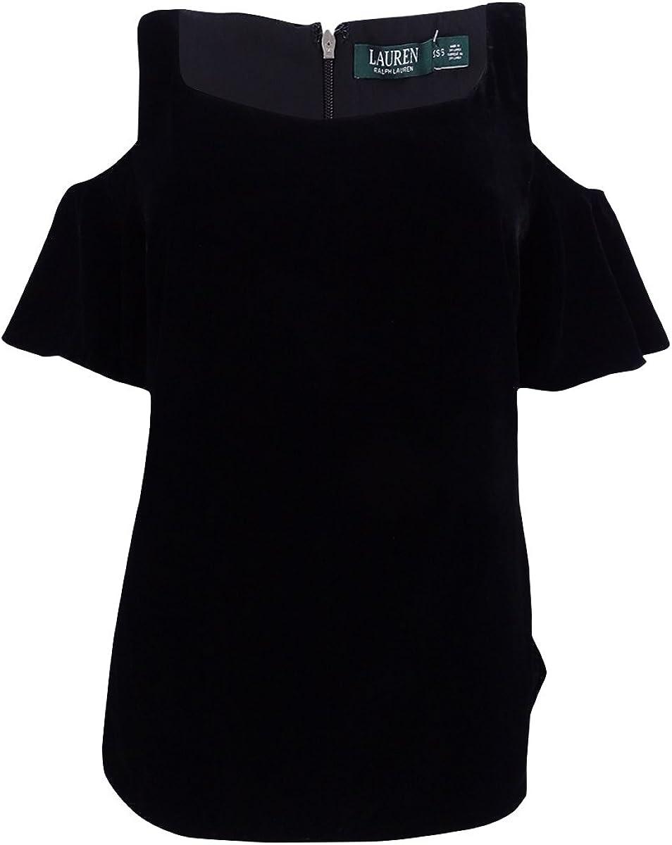 LAUREN RALPH Womens Lizabeta Discount mail order Velvet Dress Shoulder Cold safety T