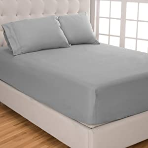 Bare Home Fitted Sheet + Pillowcase Set - Premium 1800 Ultra-Soft Microfiber - Wrinkle Resistant (Queen, Light Grey)