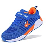 Boys Girls Sneakers Knitted Mesh Kids Shoes Lightweight Athletic for Tennis Running Sports Blue US Size 3.5 Big Kid