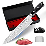 YTUOMZI Pro Chef Knife – 8-inch Professional Chef Knife – German High-Carbon Stainless-Steel Knife with Durable Wooden Handle – Sharpener and Finger Guard Included–Full Tang Sharp Kitchen Knife