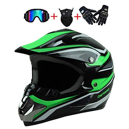 LEENY Motocrosshelme Schwarz-Grün Motorrad-Off-Road-Helm Kinder Fullface Crosshelme Set mit Handschuhe/Maske/Brille, Motorradhelm Damen Herren Schutz-Helm Downhill Enduro ATV MTB BMX-Helm,L(56~57cm)