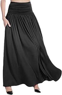 cc3bf4ce54 Howely Womens Fashional High Waist Plain Versatile Drape Up Long Skirt