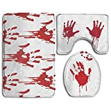 CoolsomeJies Bath Mat,3 Piece Bathroom Rug Set,Funny Bloody Hands Horror Halloween Theme Non Slip Toilet Seat Cover Set,Large Contour Mat,Lid Cover For Men/Women