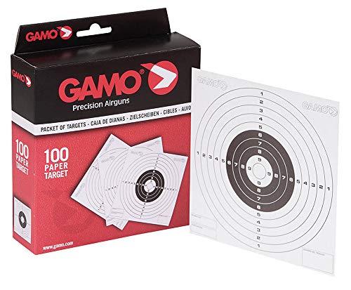 Tiendas LGP - Gamo, 100 dianas de cartón de 14x14 cm. con los Tradicionales Blancos de competición. Dianas Impresas sobre un cartoncillo fácil de puntuar