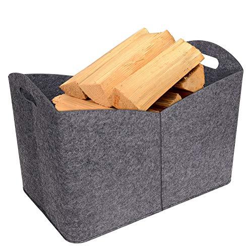 Cesta de madera de fieltro, bolsa de madera para chimenea, cesta de almacenamiento de fieltro multifunción con asas de transporte para madera, juguetes, ropa, periódico, revista. (grande)