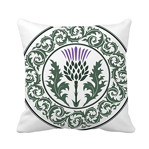 ETGeed Throw Pillow Cover Thistle Flower and Round Leaf The Symbol of Scotland Soft Cushion For Sofa Home Car Decoration,18x18Inch