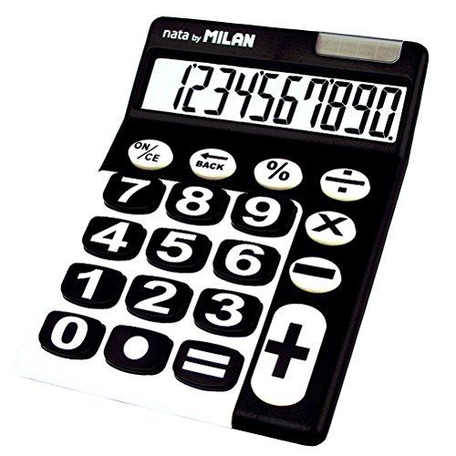 Milan 150610KBL - Calculadora de sobremesa, 10 dígitos, color negro y blanco
