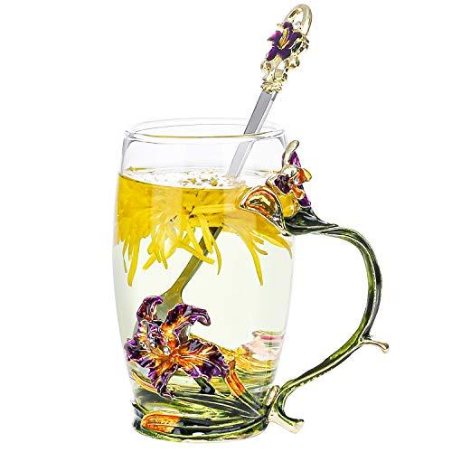 Copo de chá de vidro de flor da COAWG, caneca de café transparente feita à mão com esmalte de 340 g, decorada com flor de íris, ótima ideia de presente para mulheres, irmãs, esposas, mães, Natal, Dia de Ação de Graças, Ano Novo (30 ml-íris)