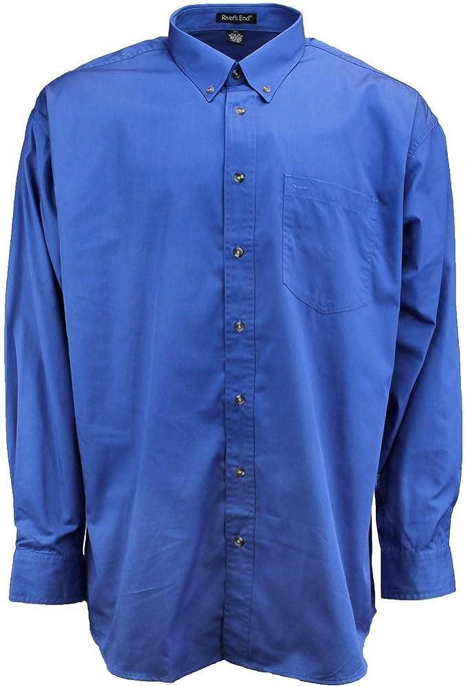 Rivers' End Mens Ezcare Woven Shirt Top Casual Shirt - Blue