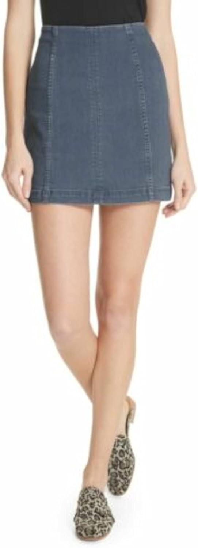 Free People Womens Blue Mini Pencil Skirt Size 12