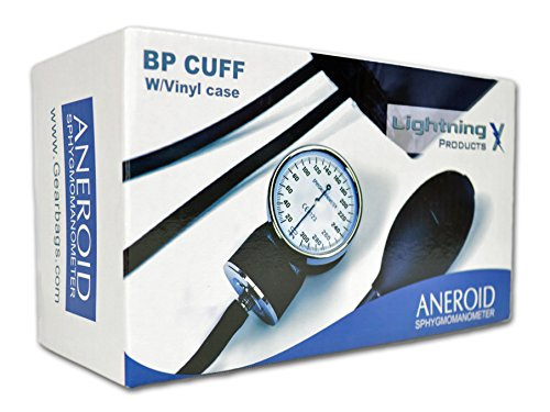 Lightning X Aneroid Sphygmomanometer (BP Cuff) Adult Blood Pressure Monitor with Carrying Case - Black