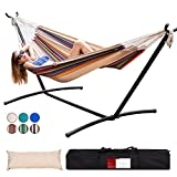 Lazy Daze Double Cotton Hammock with Space Saving Steel Stand Includes Portable Carrying Bag and Head Pillow Brazilian-Style Hammock for Indoor Outdoor Patio 450 lbs Capacity, Tan Stripe