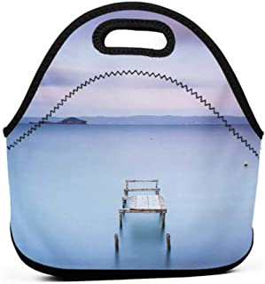 Convenient Lunch Box Tote Bag Landscape,Wooden Jetty on Bolsena Lake Italy Long Exposure Photo European Nature View,Baby Blue Lilac,corgi lunch bag for girls