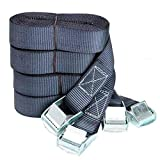 DIY Crafts 3 Feet Tie Down Lashing Ratchet Strap with Metal Buckle, Black (Pack of 6 Belts, Strap...