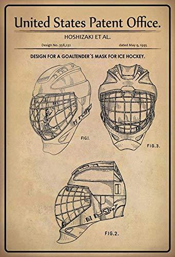 NWFS patent ontwerp voor een hockey - keeper - masker blikken bord metalen bord bord bord metaal tin teken gebogen gelakt 20 x 30 cm