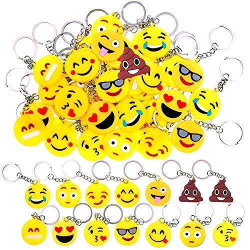 34 Pieza Mini Emoji Llavero,Emoji Encantadora Emoticon Llavero,Llavero Emoji de Cara Redonda para Fiestas de Niños, Suministros, Decoraciones de Bolsas
