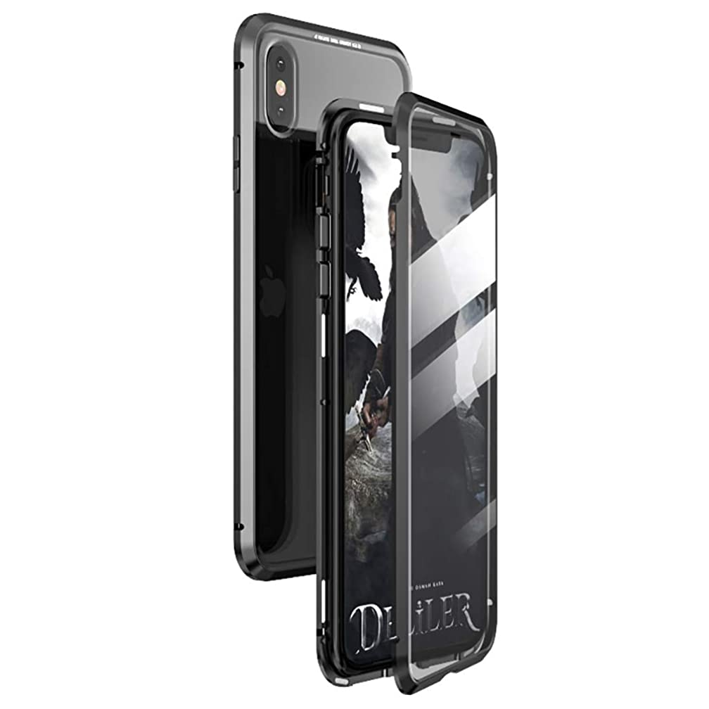 360° Full Body Case for iPhone Xs MAX Case,[Front and Back of Clear Touchable HD Tempered Glass] with Built-in Screen Protector Magnetic Adsorption Metal Protection Cover Fit XS MAX 6.5