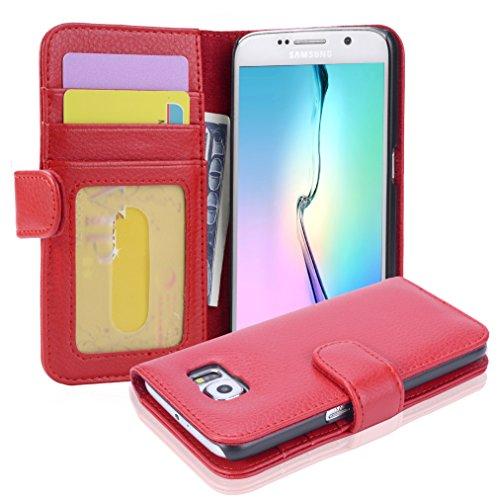 Cadorabo Funda Libro para Samsung Galaxy S6 en Rojo Infierno - Cubierta Proteccíon con Cierre Magnético e 3 Tarjeteros - Etui Case Cover Carcasa