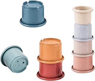 TOYANDONA 8Pcs Nesting Bucket Cup Toy Embossed Animal Characters Baby Building Rainbow Cups Set Baby Swimming Pool Bathtub...