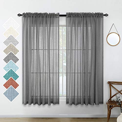 Charcoal Gray Curtains Sheer 45 Inches Long for Kitchen Pair Set 2 Panels Rod Pocket Casual Fresh Dark Grey Drape Light Filtering Airy Linen Look Curtain for Bathroom Bedroom Doorway 52x45 Inch Length