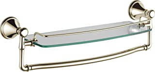 Delta Faucet Bathroom Accessories 79710-PN Cassidy 18-Inch Glass Shelf with Towel Rack, Polished Nickel